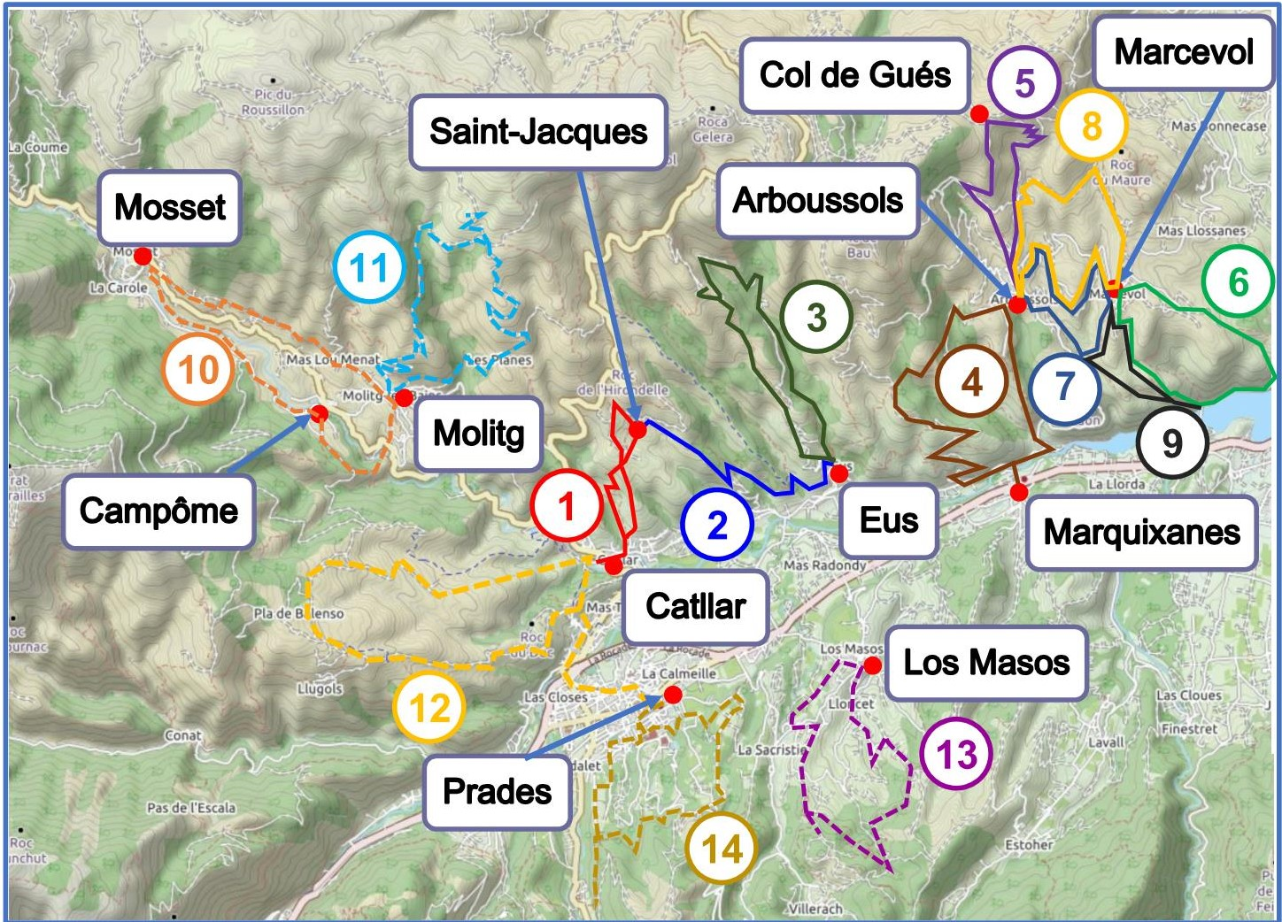 Walks from Catllar, Eus and Arboussols map