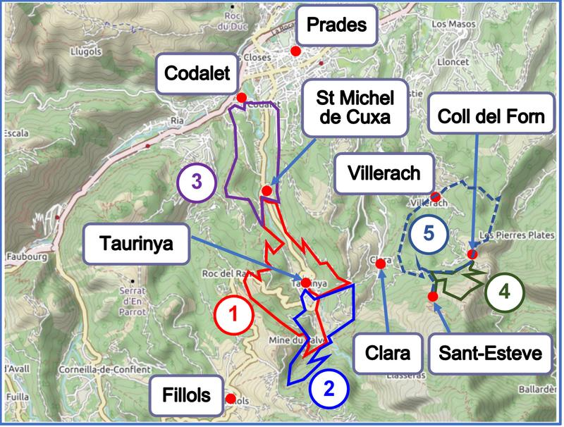 Walks from Taurinya, Codalet and Clara map