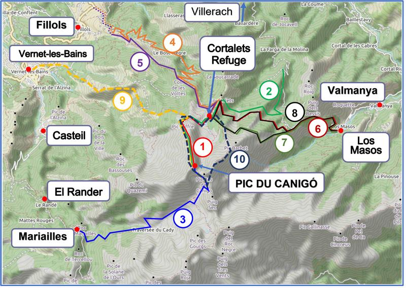Walks to Cortalets Refuge and the Pic du Canigó map