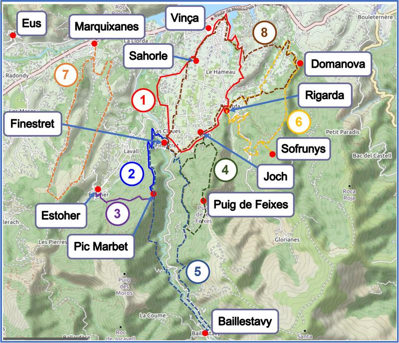 Walks from Vinça, Finestret and Estoher map